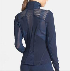 Zella Navy Blue Double Mesh Zip Jacket